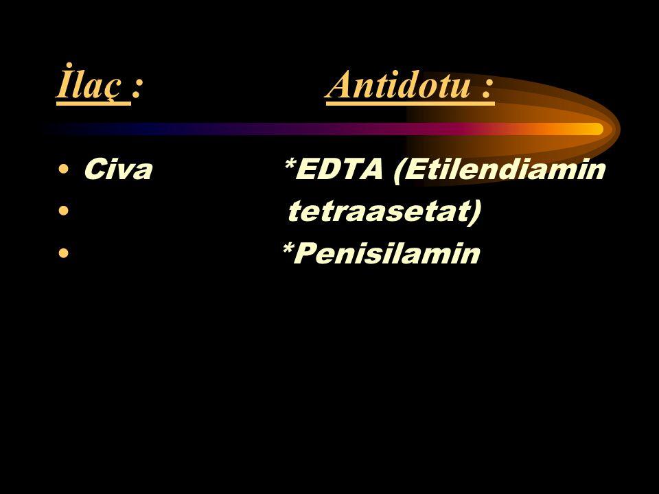 İlaç : Antidotu : Arsenik *Dimerkaprol (BAL) *Penisilamin