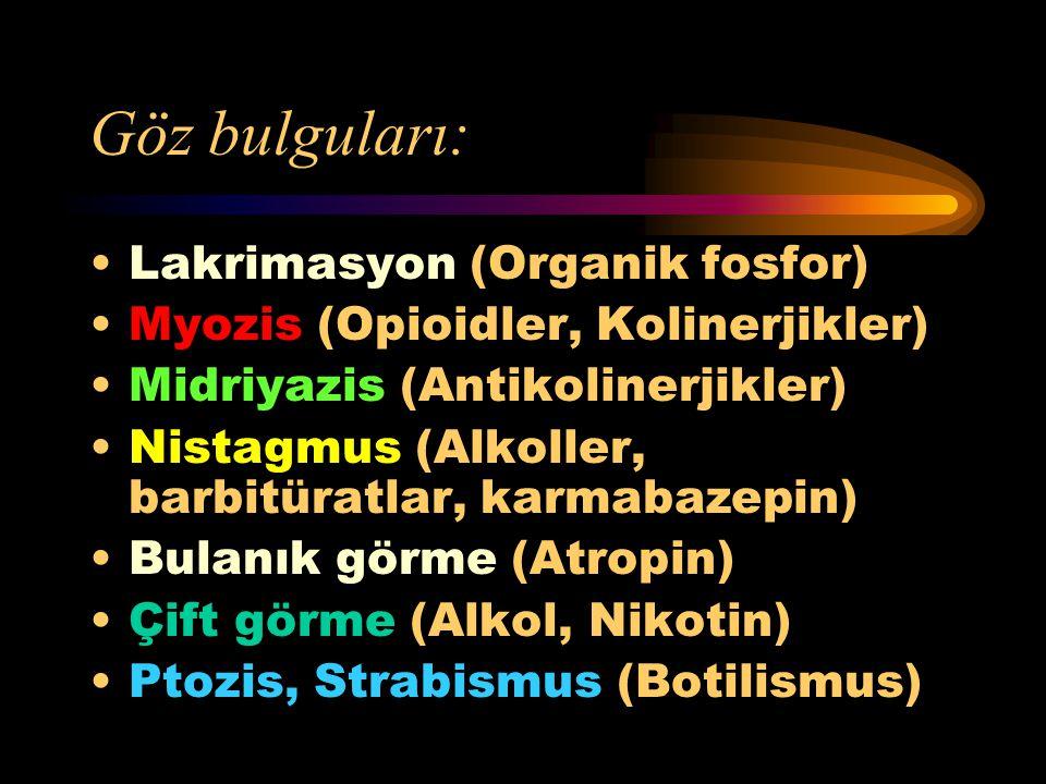Santral sinir sistemi bulguları: Psikoz (Steroitler) Delirium (Alkol) Depresyon (Barbitüratlar) Konvulsiyon (Aminofilin, Amfetamin) Ataksi (Antihistam