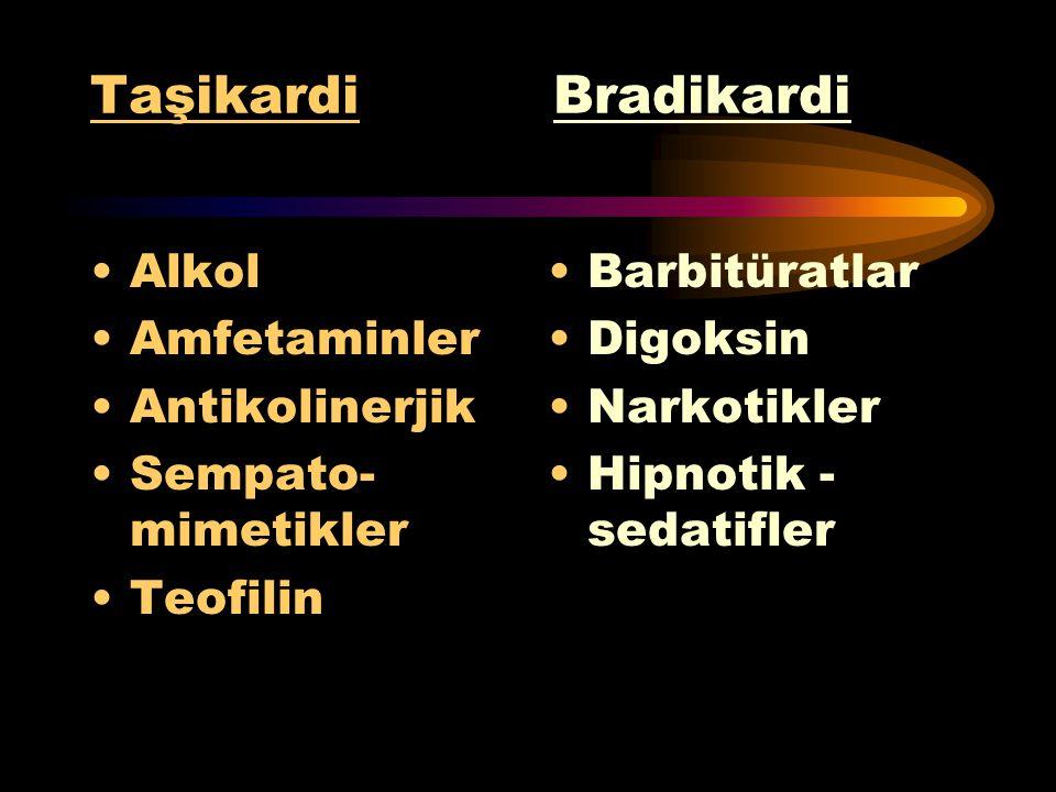 Hipertansiyon Hipotansiyon Amfetaminler Antikolinerjik Sempato- mimetikler Siyanid Narkotikler Hipnotik- sedatifler