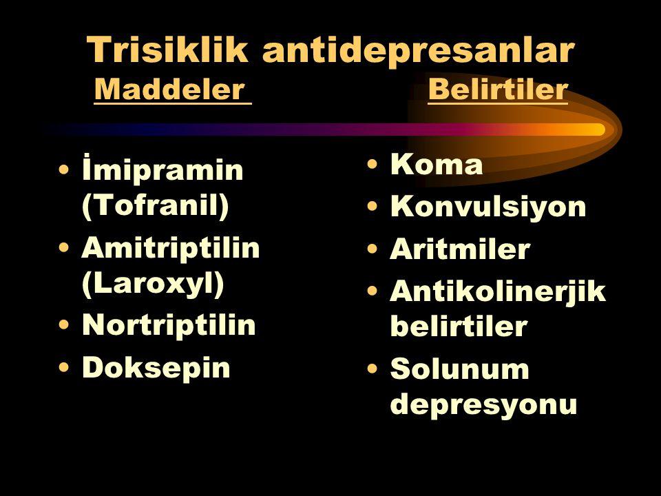Hipnotik-Sedatifler Maddeler Belirtiler Barbitüratlar Benzodiazepin Kloral hidrat Koma MSS depresyonu Hipotermi Hipotansiyon Bradipne Solunum depresyo