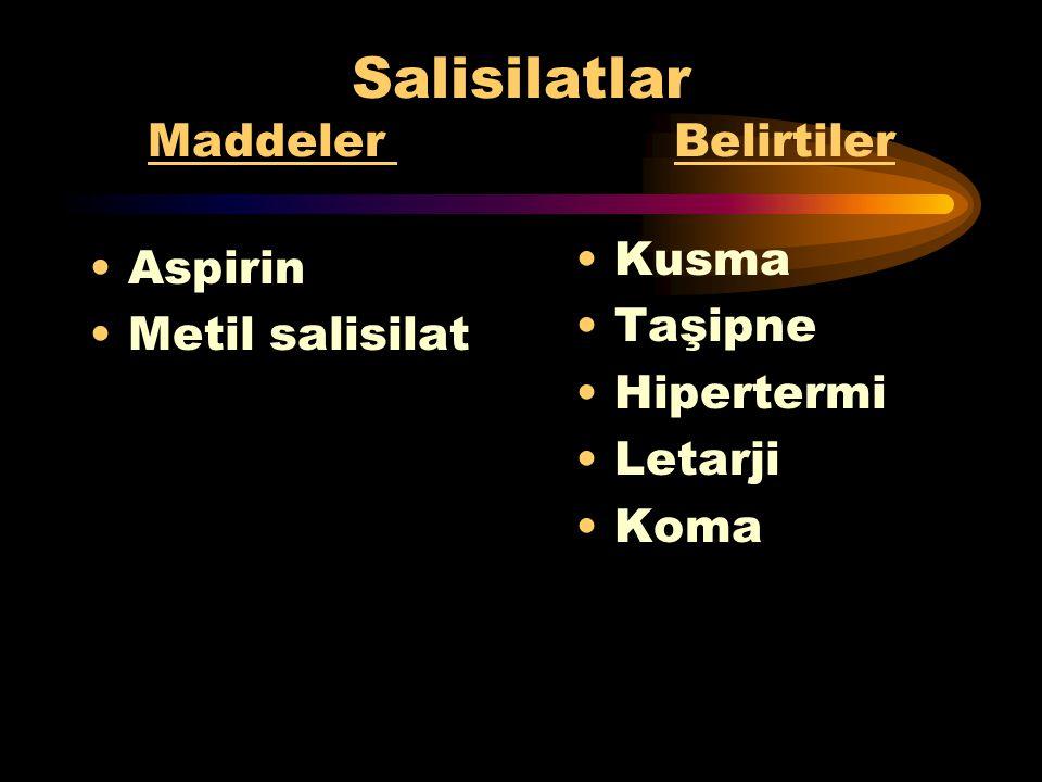 Fenotiazinler Maddeler Belirtiler Klorpromazin (Largactil) Tioridazin (Melleril) Klorprotiksen Metdilazin Hipotansiyon Taşikardi Baş ve boyunda torsiy