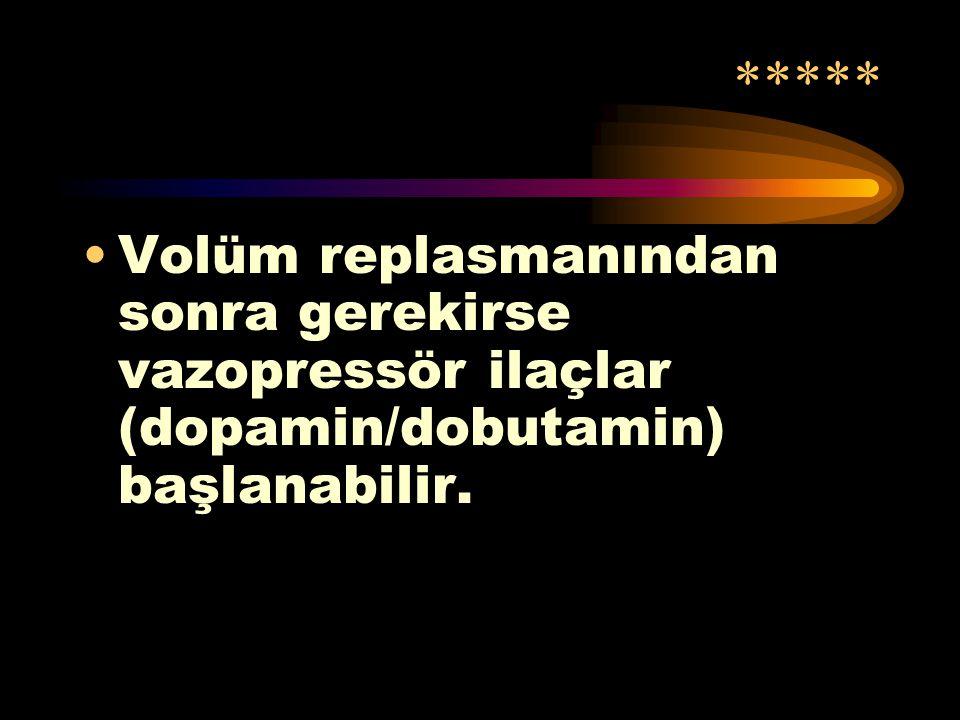 * Hastada hipotansiyon / şok belirtileri varlığında volüm replasmanı yapılır. (İzotonik 20 cc/kg bolus, şok bulguları/hipotansiyon düzelene kadar)