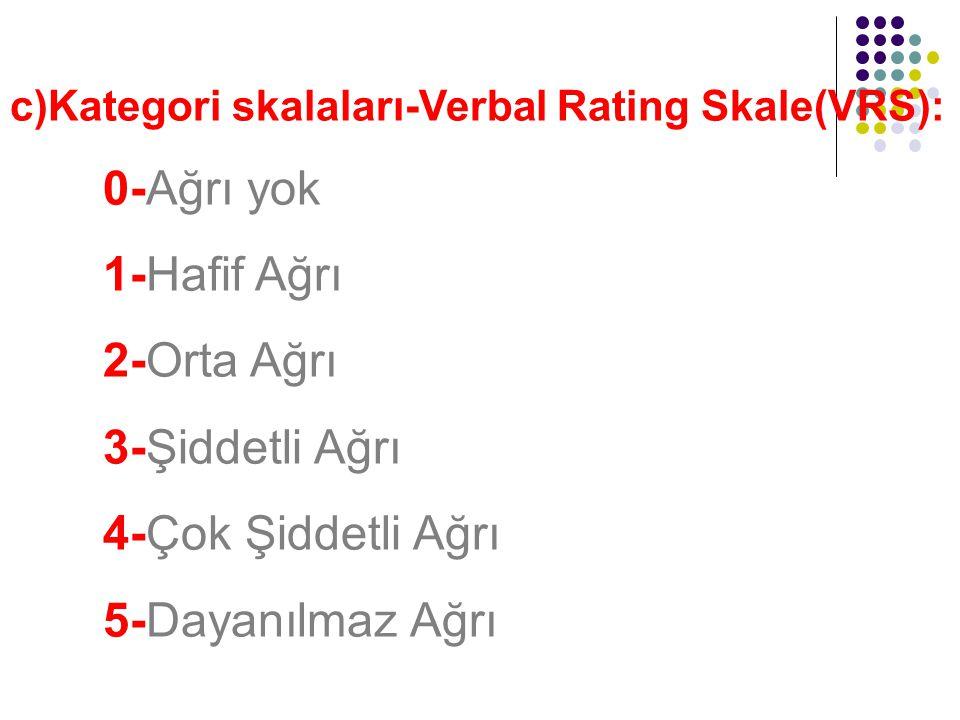 c)Kategori skalaları-Verbal Rating Skale(VRS): 0-Ağrı yok 1-Hafif Ağrı 2-Orta Ağrı 3-Şiddetli Ağrı 4-Çok Şiddetli Ağrı 5-Dayanılmaz Ağrı