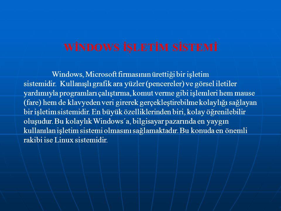 WİNDOWS İŞLETİM SİSTEMİ Windows, Microsoft firmasının ürettiği bir işletim sistemidir. Kullanışlı grafik ara yüzler (pencereler) ve görsel iletiler ya