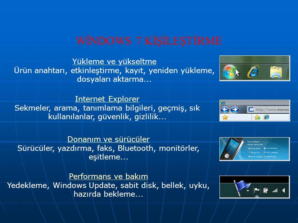 WİNDOWS 7 KİŞİLEŞTİRME Yükleme ve yükseltme Ürün anahtarı, etkinleştirme, kayıt, yeniden yükleme, dosyaları aktarma... Internet Explorer Sekmeler, ara
