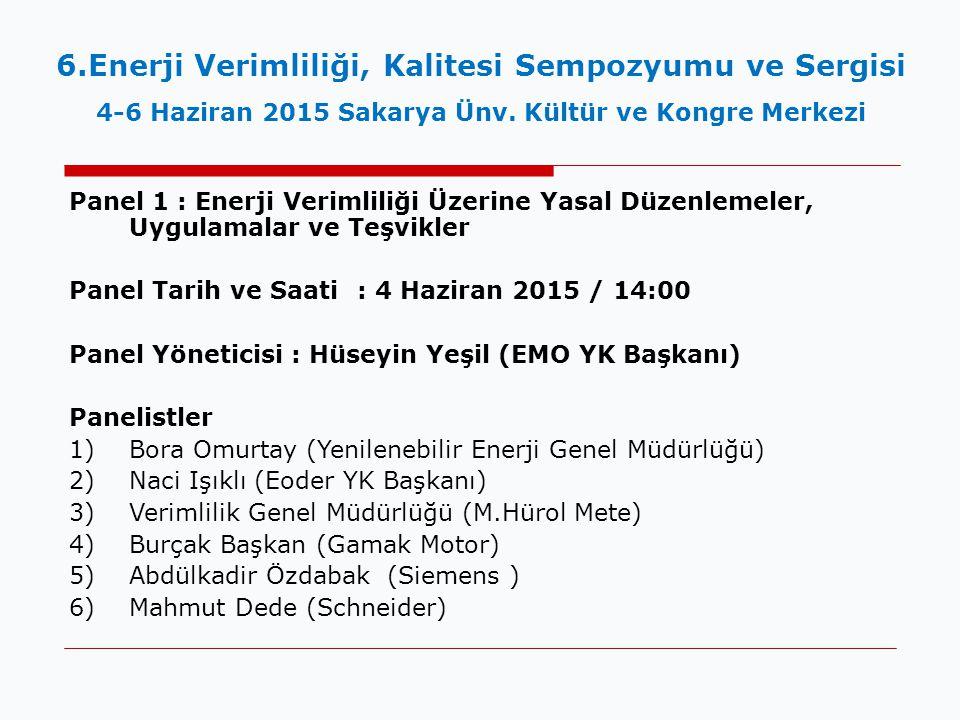 Panel 1 : Enerji Verimliliği Üzerine Yasal Düzenlemeler, Uygulamalar ve Teşvikler Panel Tarih ve Saati : 4 Haziran 2015 / 14:00 Panel Yöneticisi : Hüseyin Yeşil (EMO YK Başkanı) Panelistler 1)Bora Omurtay (Yenilenebilir Enerji Genel Müdürlüğü) 2)Naci Işıklı (Eoder YK Başkanı) 3)Verimlilik Genel Müdürlüğü (M.Hürol Mete) 4)Burçak Başkan (Gamak Motor) 5)Abdülkadir Özdabak (Siemens ) 6)Mahmut Dede (Schneider) 6.Enerji Verimliliği, Kalitesi Sempozyumu ve Sergisi 4-6 Haziran 2015 Sakarya Ünv.