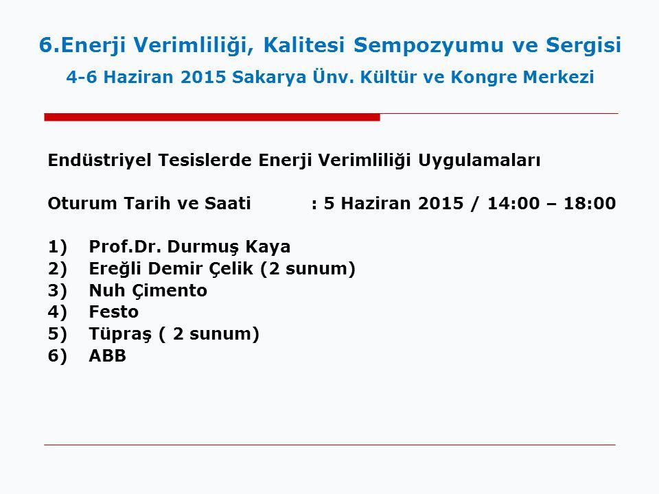 Endüstriyel Tesislerde Enerji Verimliliği Uygulamaları Oturum Tarih ve Saati : 5 Haziran 2015 / 14:00 – 18:00 1)Prof.Dr.