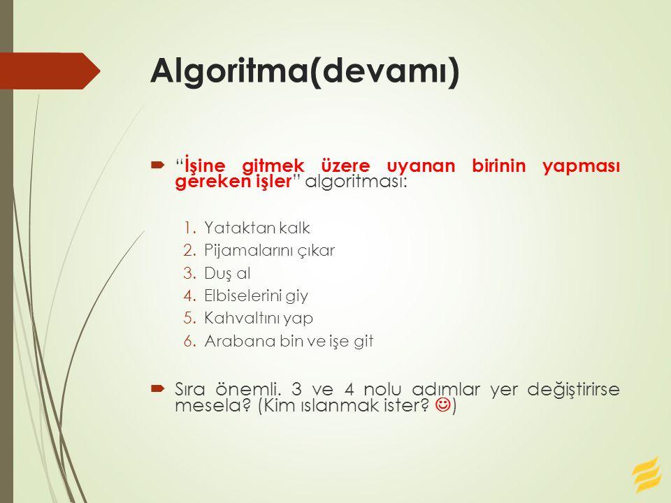 Soru6-Cevabı 1.Başla, 2.Oku Sayi 3.Sonuc=mod(sayi,2) 4.Yaz Sonuc 5.Sayi=Sayi/2 6.Eğer Sayi>0 ise git Adım3 7.Dur