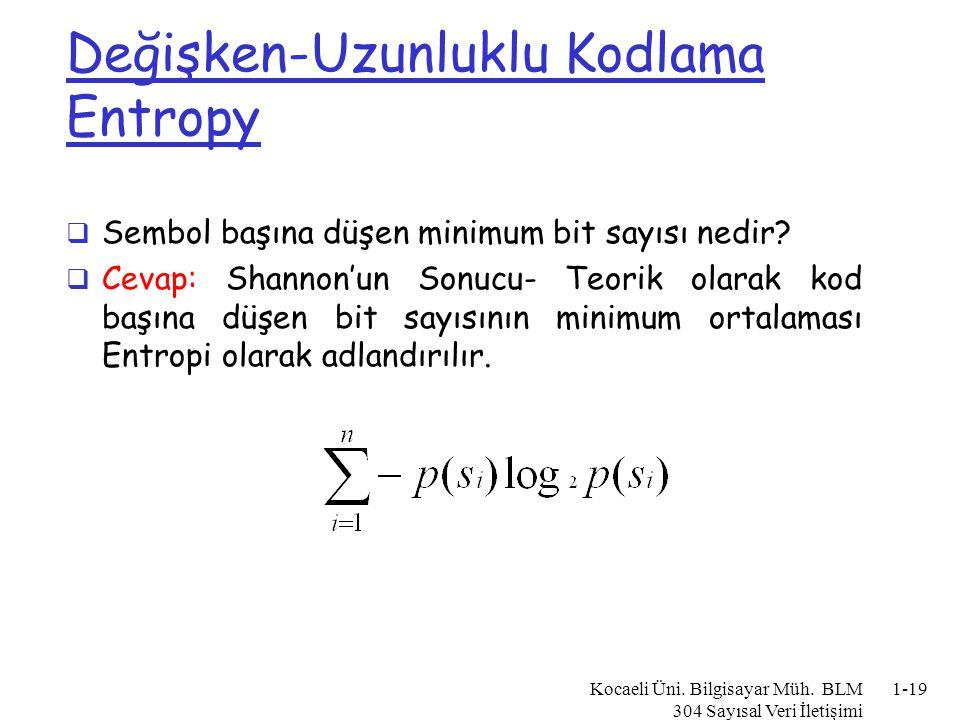 Entropi Örnek  Alphabet = {A, B} m p(A) = 0.4; p(B) = 0.6  Compute Entropy (H) m -0.4*log 2 0.4 + -0.6*log 2 0.6 =.97 bits  Maksimum Belirsizlik (H en büyük olduğunda) m Tüm olasılıklar eşit olduğunda meydana gelir Kocaeli Üni.
