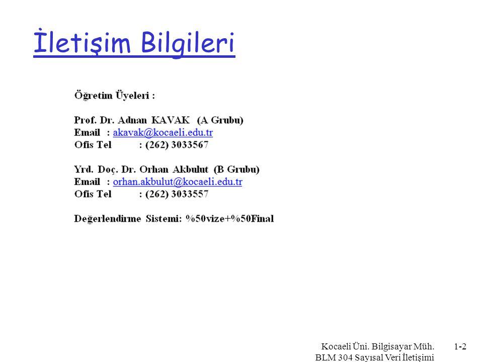 Kocaeli Üni. Bilgisayar Müh. BLM 304 Sayısal Veri İletişimi 1-3 Kaynaklar