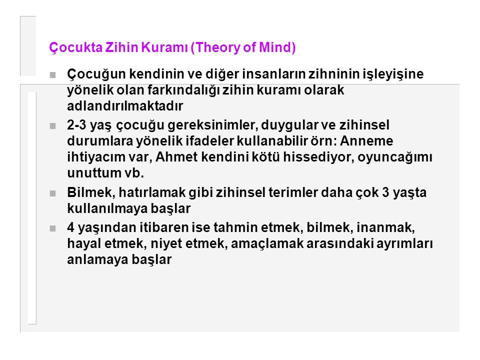 Çocukta Zihin Kuramı (Theory of Mind) n Çocuğun kendinin ve diğer insanların zihninin işleyişine yönelik olan farkındalığı zihin kuramı olarak adlandı