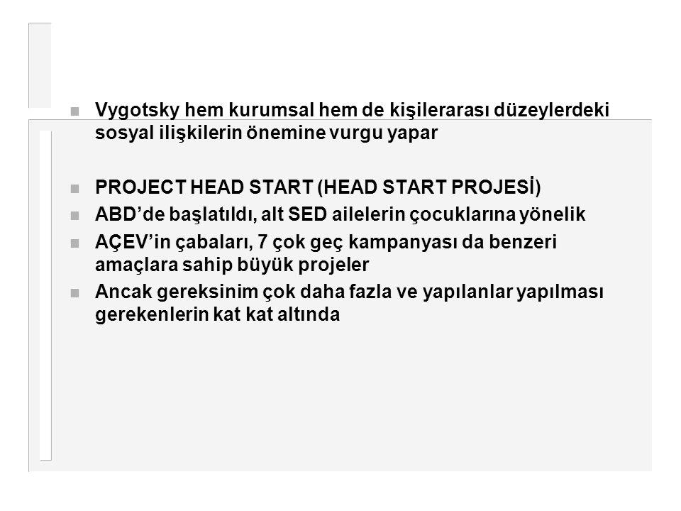 n Vygotsky hem kurumsal hem de kişilerarası düzeylerdeki sosyal ilişkilerin önemine vurgu yapar n PROJECT HEAD START (HEAD START PROJESİ) n ABD'de baş