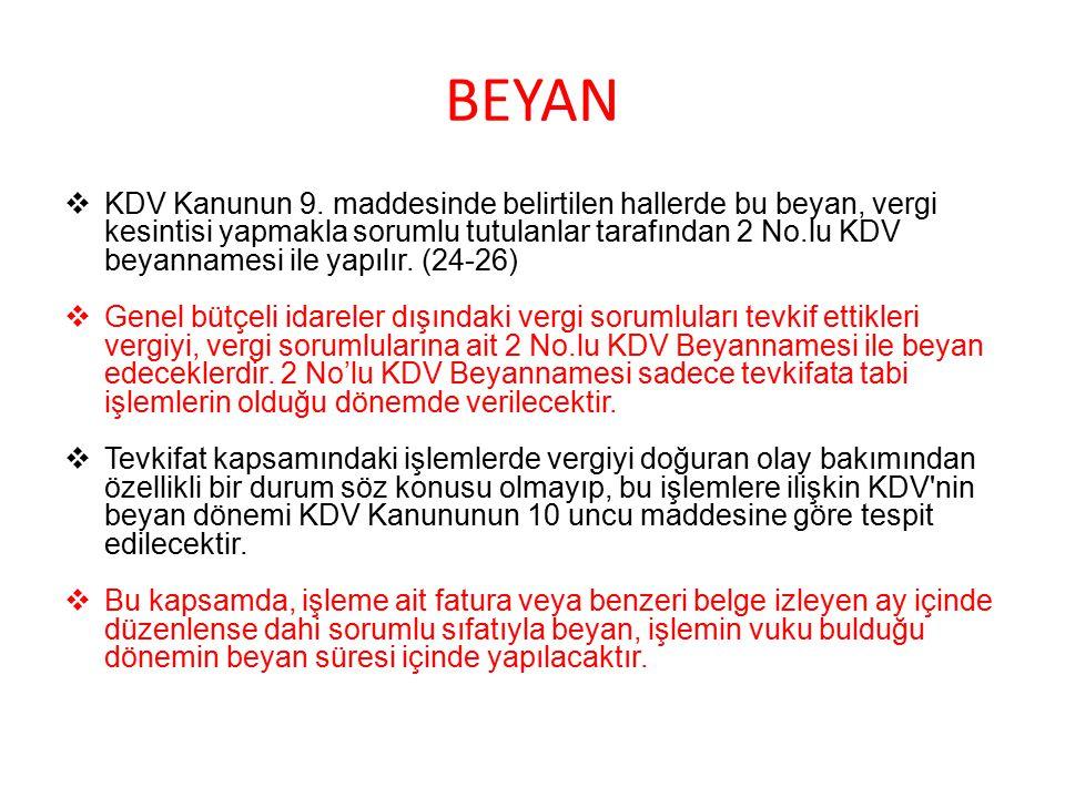 BEYAN  KDV Kanunun 9.