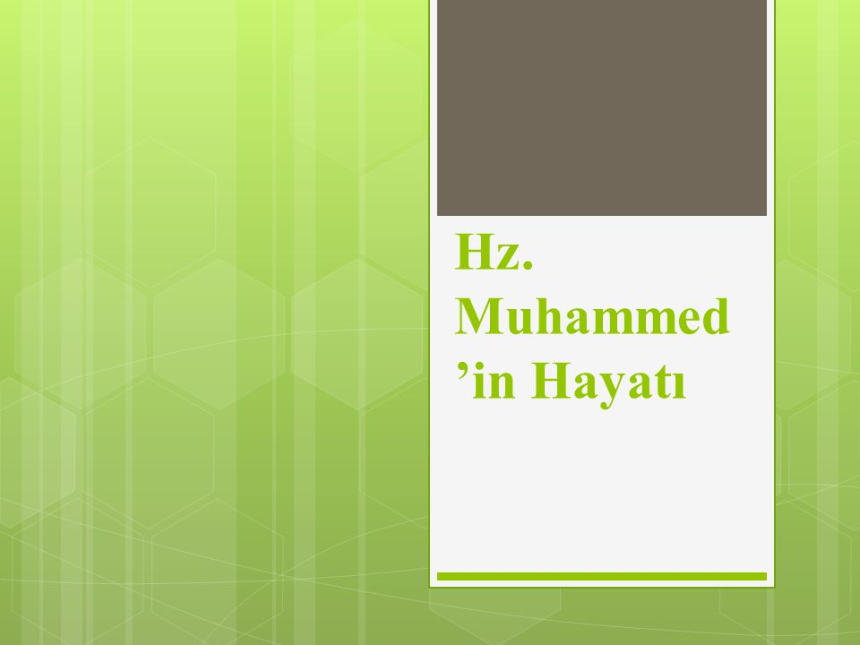 Hz. Muhammed 'in Hayatı