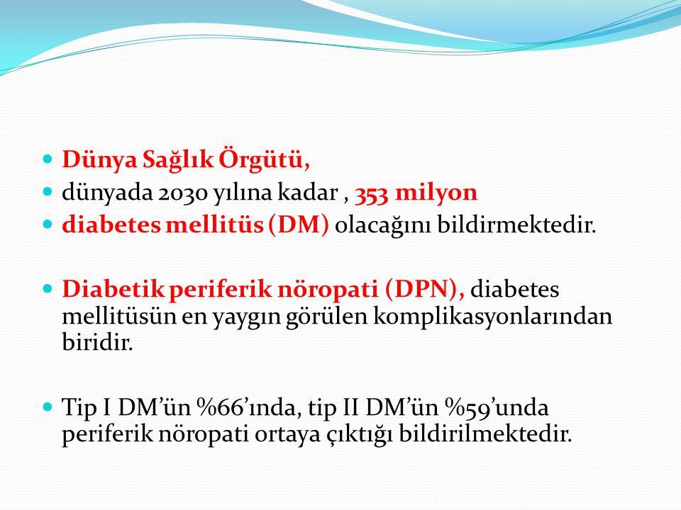 Dünya Sağlık Örgütü, dünyada 2030 yılına kadar, 353 milyon diabetes mellitüs (DM) olacağını bildirmektedir. Diabetik periferik nöropati (DPN), diabete