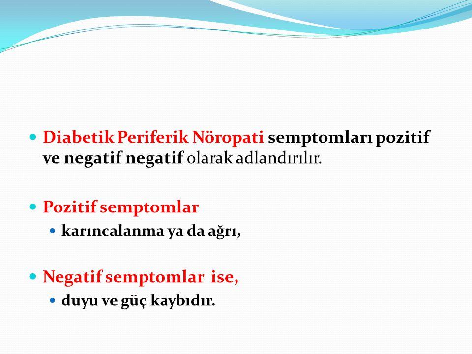 Diabetik Periferik Nöropati semptomları pozitif ve negatif negatif olarak adlandırılır. Pozitif semptomlar karıncalanma ya da ağrı, Negatif semptomlar