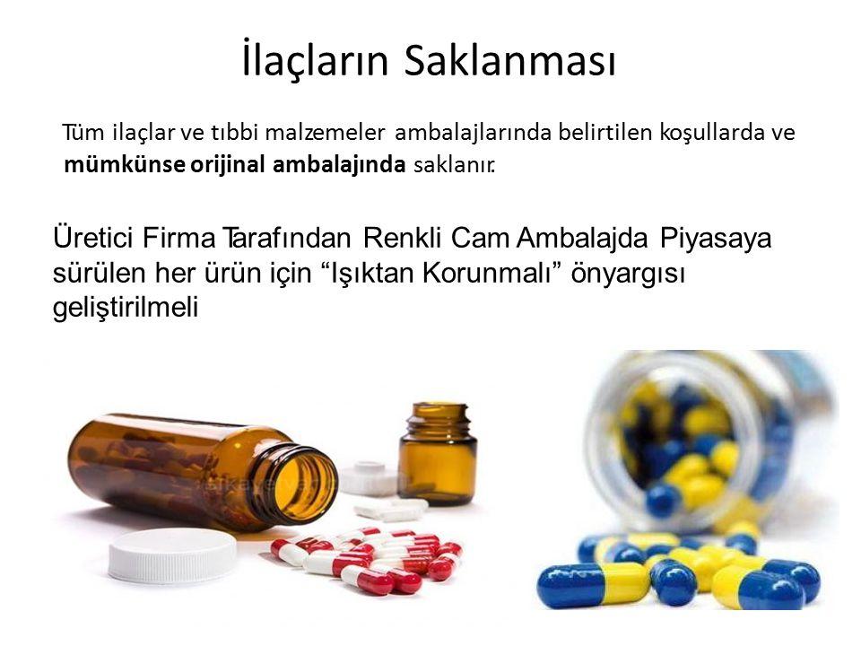 İlaçların Saklanması Tüm ilaçlar ve tıbbi malzemeler ambalajlarında belirtilen koşullarda ve mümkünse orijinal ambalajında saklanır. Üretici Firma Tar