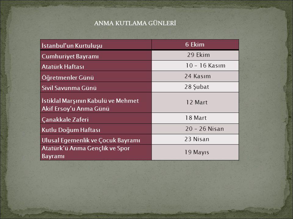 İstanbul'un Kurtuluşu 6 Ekim Cumhuriyet Bayramı 29 Ekim Atatürk Haftası 10 – 16 Kasım Öğretmenler Günü 24 Kasım Sivil Savunma Günü 28 Şubat İstiklal M