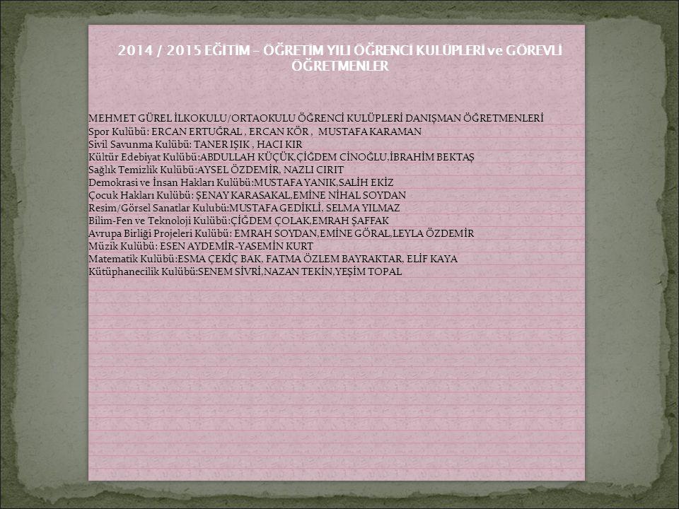 2014 / 2015 EĞİTİM – ÖĞRETİM YILI ÖĞRENCİ KULÜPLERİ ve GÖREVLİ ÖĞRETMENLER