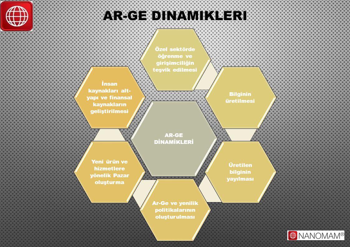 AR-GE DİNAMİKLERİ Özel sektörde öğrenme ve girişimciliğin teşvik edilmesi Bilginin üretilmesi Üretilen bilginin yayılması Ar-Ge ve yenilik politikalar