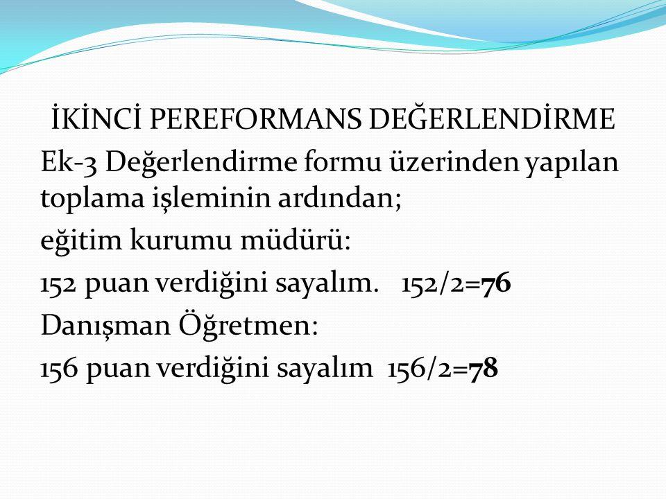 İKİNCİ PEREFORMANS DEĞERLENDİRME Ek-3 Değerlendirme formu üzerinden yapılan toplama işleminin ardından; eğitim kurumu müdürü: 152 puan verdiğini sayalım.