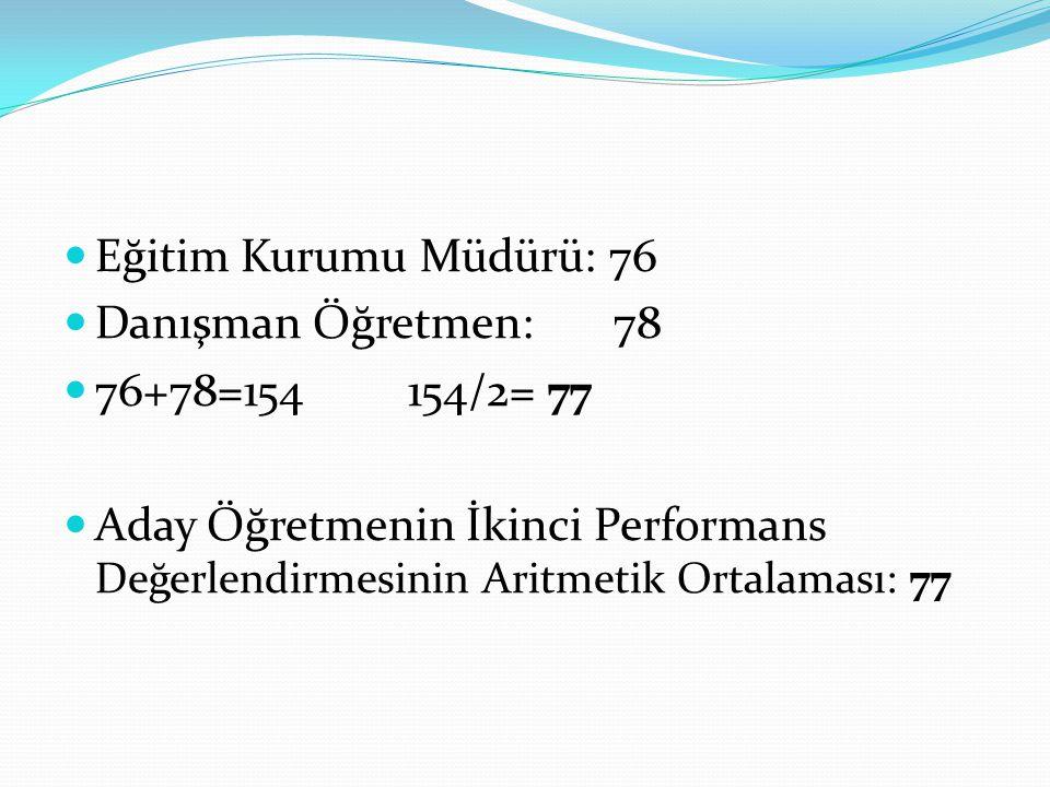 Eğitim Kurumu Müdürü: 76 Danışman Öğretmen: 78 76+78=154 154/2= 77 Aday Öğretmenin İkinci Performans Değerlendirmesinin Aritmetik Ortalaması: 77