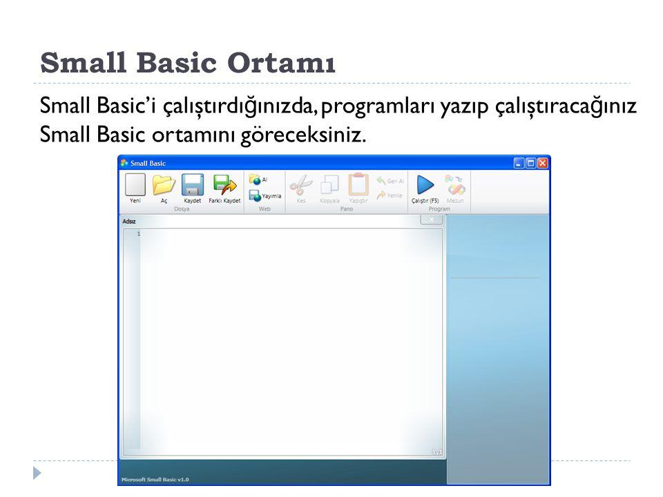 Small Basic Ortamı Small Basic'i çalıştırdı ğ ınızda, programları yazıp çalıştıraca ğ ınız Small Basic ortamını göreceksiniz.