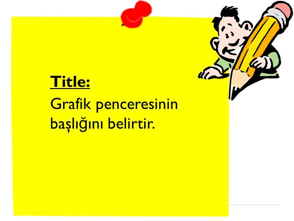 Title: Grafik penceresinin başlı ğ ını belirtir.
