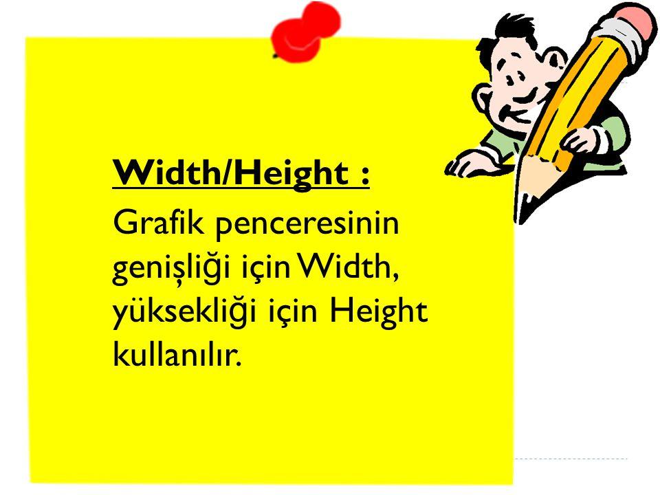 Width/Height : Grafik penceresinin genişli ğ i için Width, yüksekli ğ i için Height kullanılır.