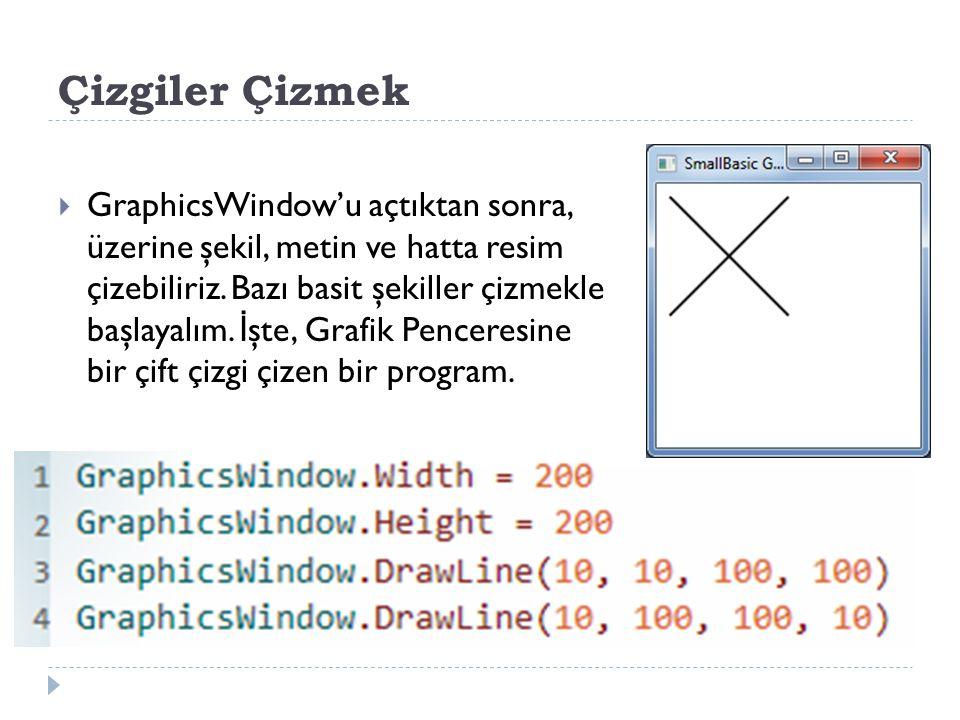 Çizgiler Çizmek  GraphicsWindow'u açtıktan sonra, üzerine şekil, metin ve hatta resim çizebiliriz.