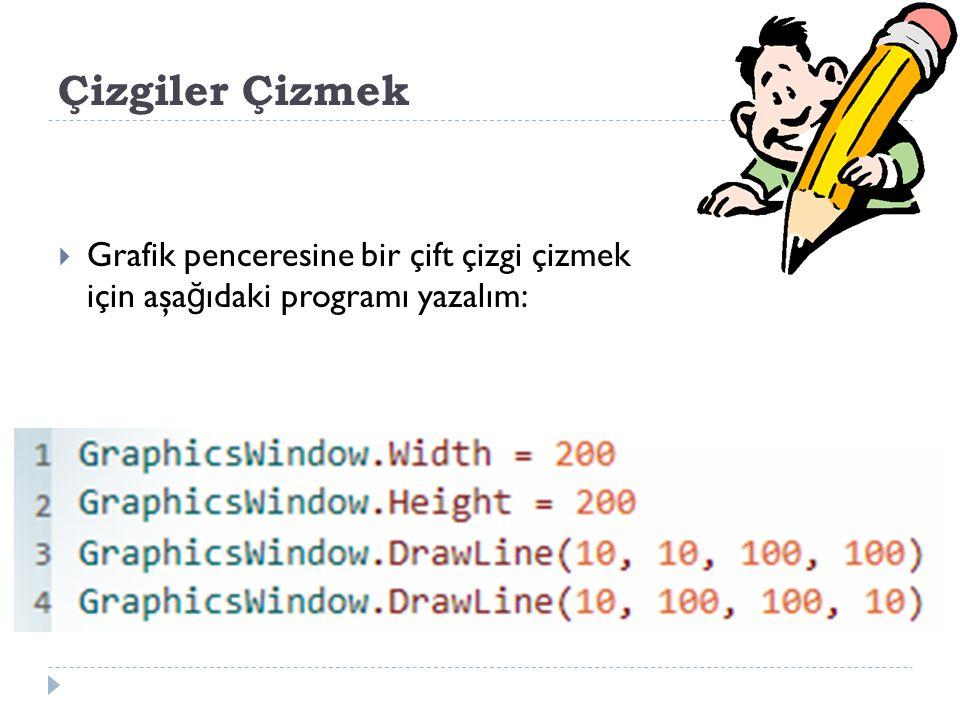 Çizgiler Çizmek  Grafik penceresine bir çift çizgi çizmek için aşa ğ ıdaki programı yazalım: