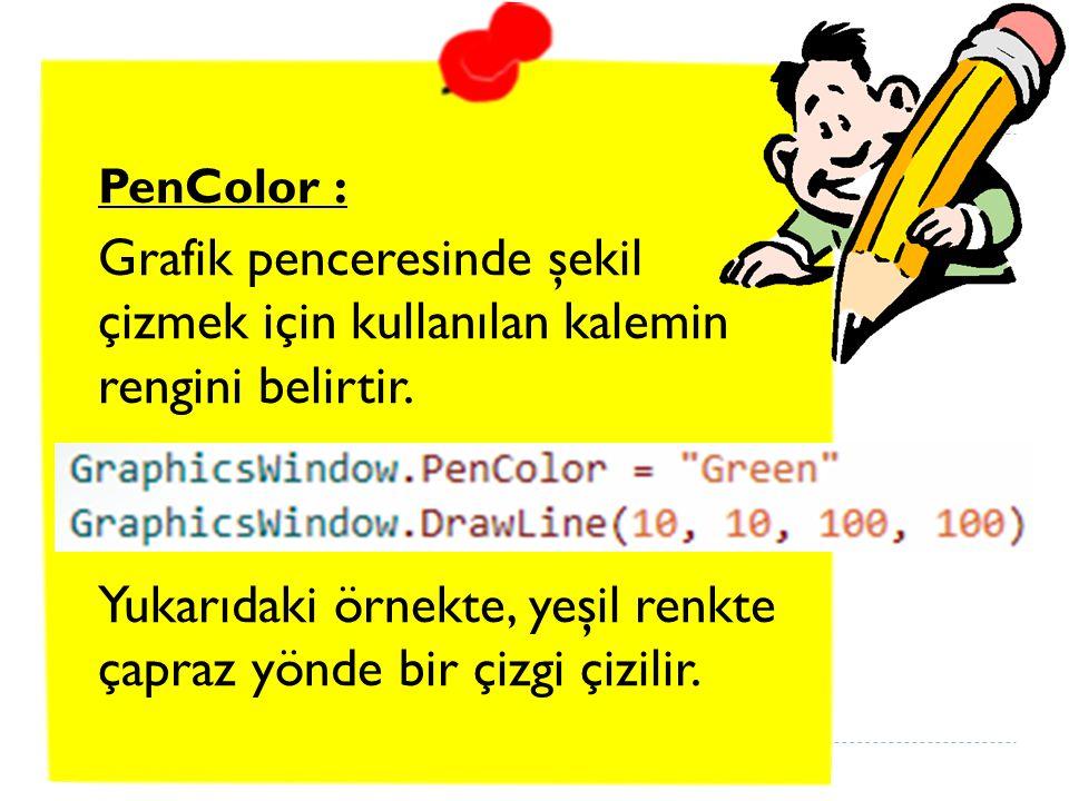 PenColor : Grafik penceresinde şekil çizmek için kullanılan kalemin rengini belirtir.