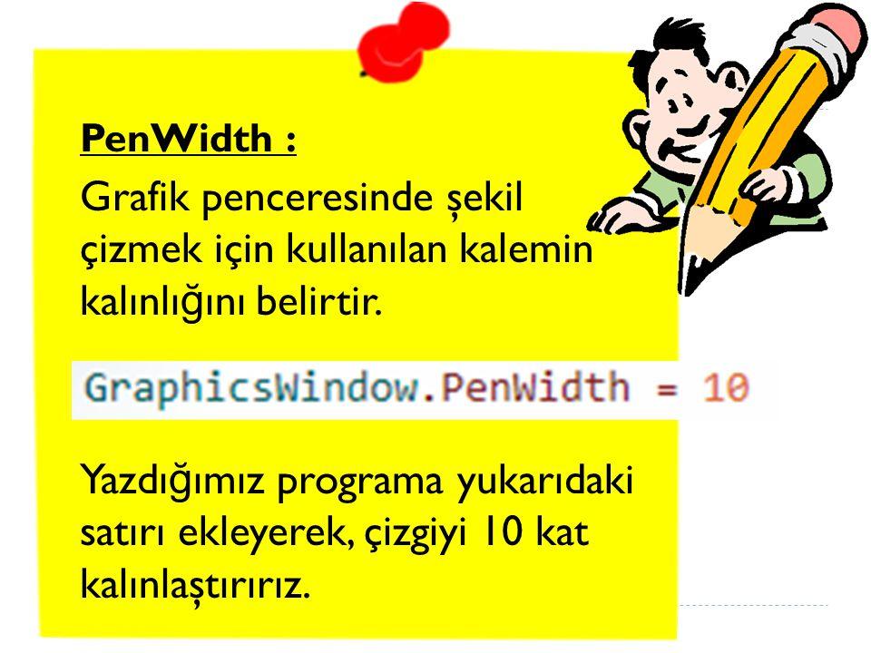 PenWidth : Grafik penceresinde şekil çizmek için kullanılan kalemin kalınlı ğ ını belirtir.