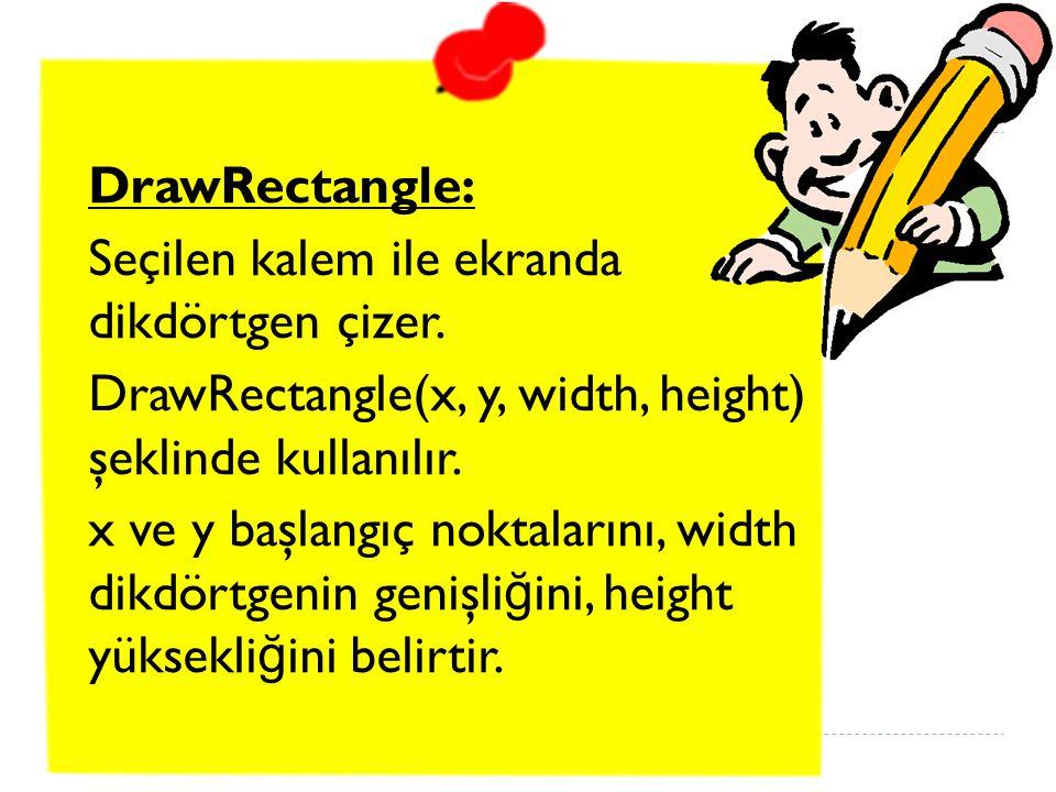 DrawRectangle: Seçilen kalem ile ekranda dikdörtgen çizer.