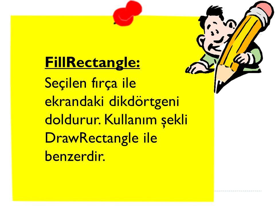 FillRectangle: Seçilen fırça ile ekrandaki dikdörtgeni doldurur.