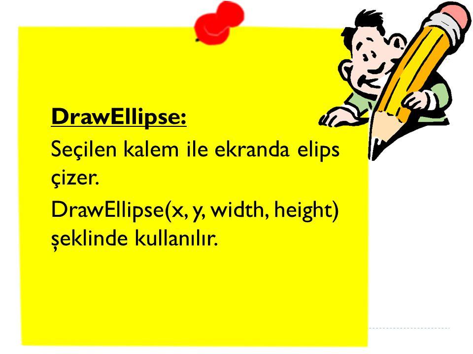 DrawEllipse: Seçilen kalem ile ekranda elips çizer.