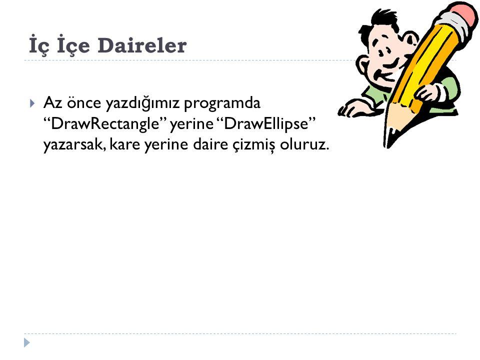İç İçe Daireler  Az önce yazdı ğ ımız programda DrawRectangle yerine DrawEllipse yazarsak, kare yerine daire çizmiş oluruz.