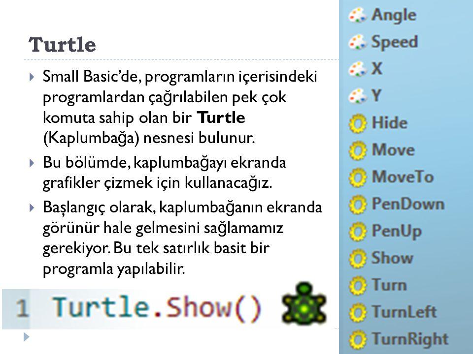 Turtle  Small Basic'de, programların içerisindeki programlardan ça ğ rılabilen pek çok komuta sahip olan bir Turtle (Kaplumba ğ a) nesnesi bulunur.