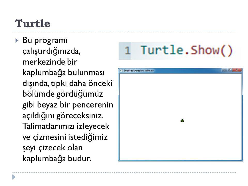 Turtle  Bu programı çalıştırdı ğ ınızda, merkezinde bir kaplumba ğ a bulunması dışında, tıpkı daha önceki bölümde gördü ğ ümüz gibi beyaz bir pencerenin açıldı ğ ını göreceksiniz.