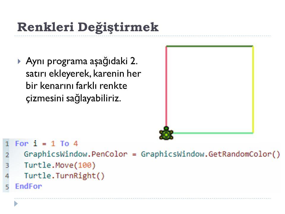 Renkleri Değiştirmek  Aynı programa aşa ğ ıdaki 2.