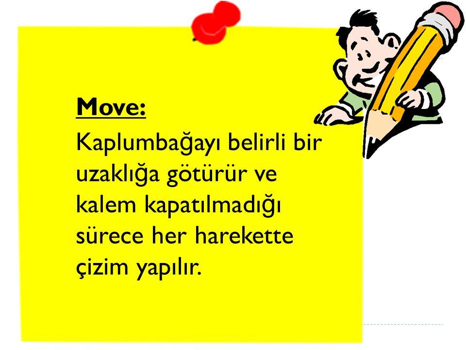 Move: Kaplumba ğ ayı belirli bir uzaklı ğ a götürür ve kalem kapatılmadı ğ ı sürece her harekette çizim yapılır.
