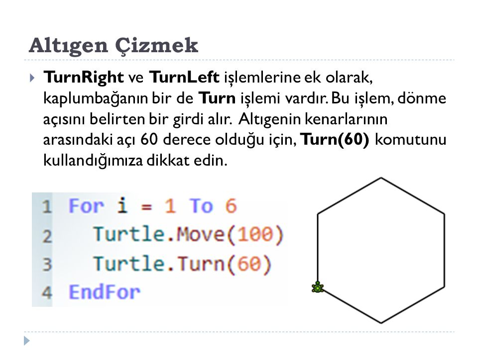 Altıgen Çizmek  TurnRight ve TurnLeft işlemlerine ek olarak, kaplumba ğ anın bir de Turn işlemi vardır.