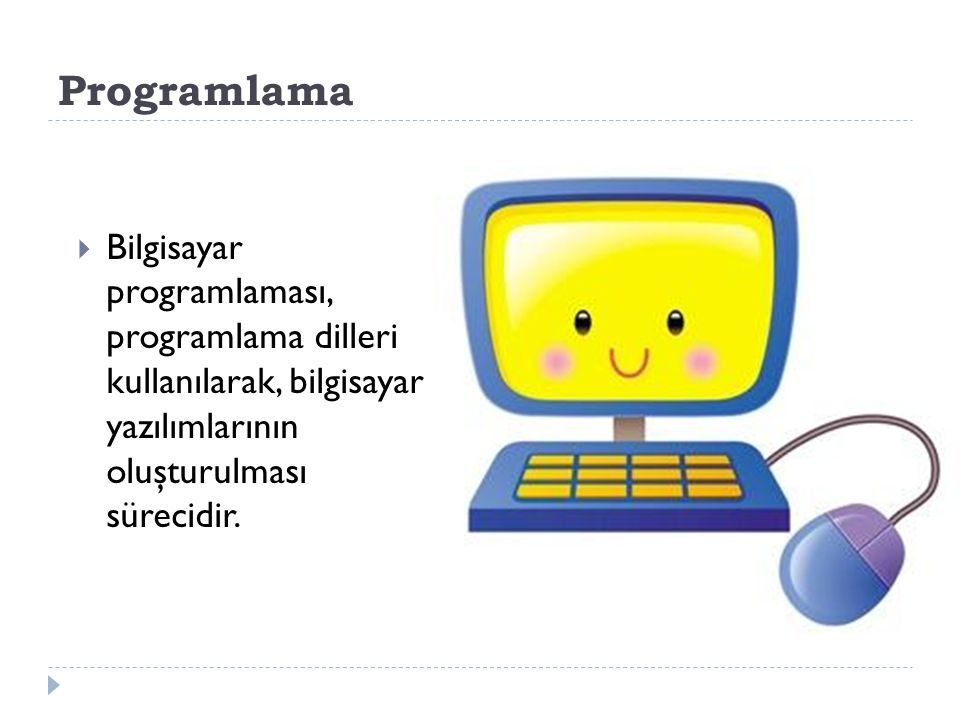 Bir bilgisayar programı aslında nedir. Bir program, bilgisayar için bir talimatlar dizisidir.