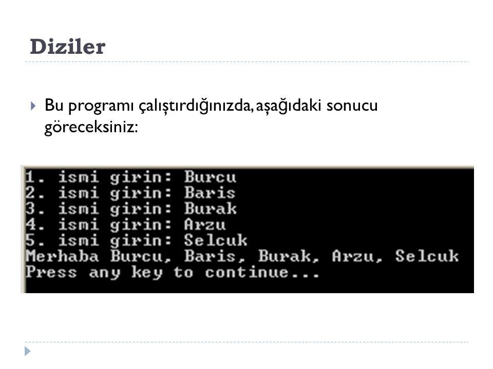 Diziler  Bu programı çalıştırdı ğ ınızda, aşa ğ ıdaki sonucu göreceksiniz: