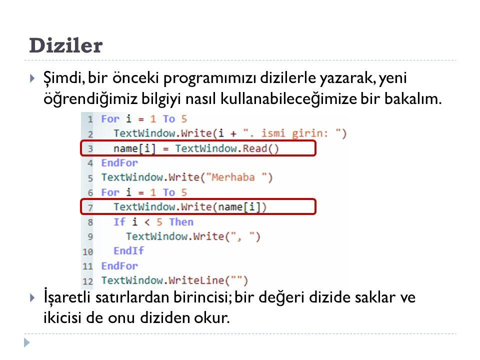 Diziler  Şimdi, bir önceki programımızı dizilerle yazarak, yeni ö ğ rendi ğ imiz bilgiyi nasıl kullanabilece ğ imize bir bakalım.
