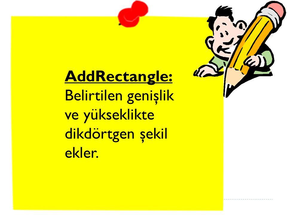 AddRectangle: Belirtilen genişlik ve yükseklikte dikdörtgen şekil ekler.