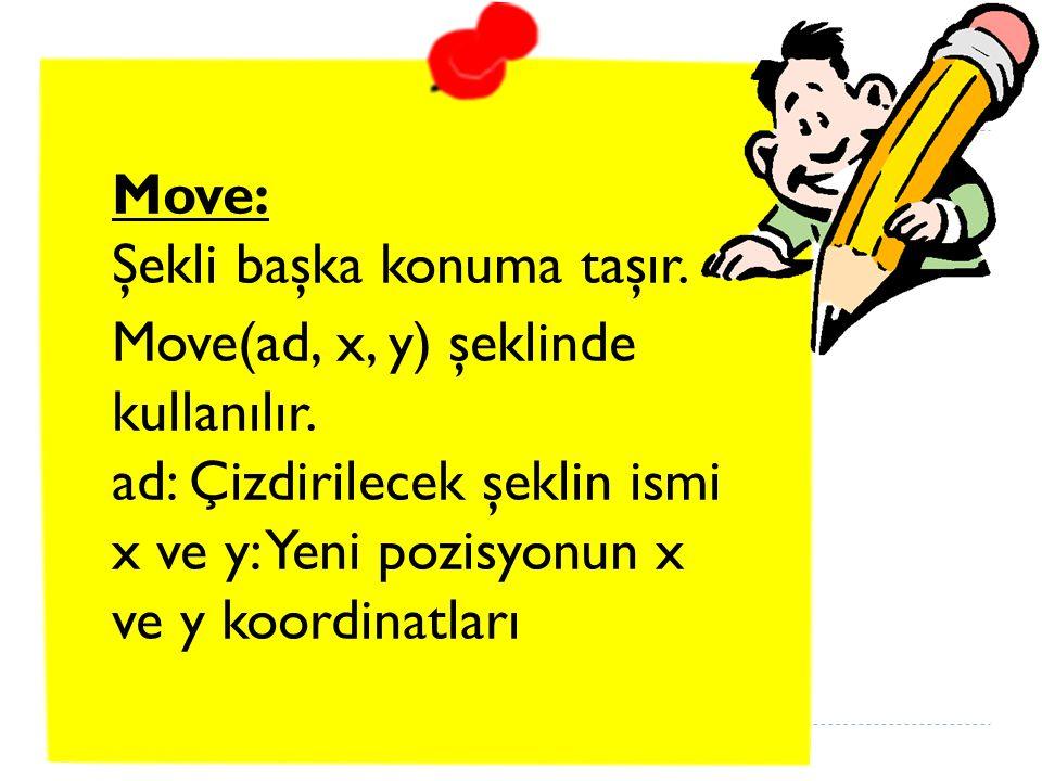 Move: Şekli başka konuma taşır.Move(ad, x, y) şeklinde kullanılır.