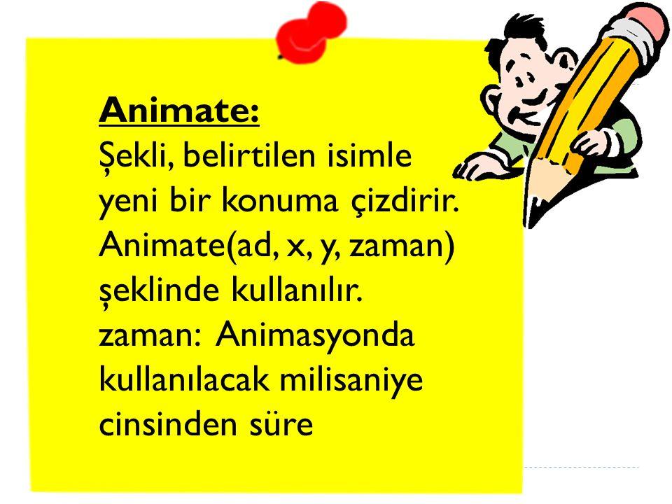 Animate: Şekli, belirtilen isimle yeni bir konuma çizdirir.