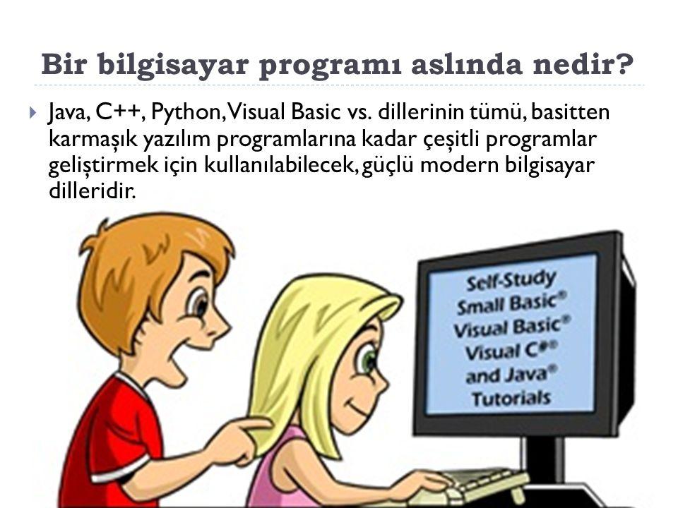 Bir bilgisayar programı aslında nedir. Java, C++, Python, Visual Basic vs.