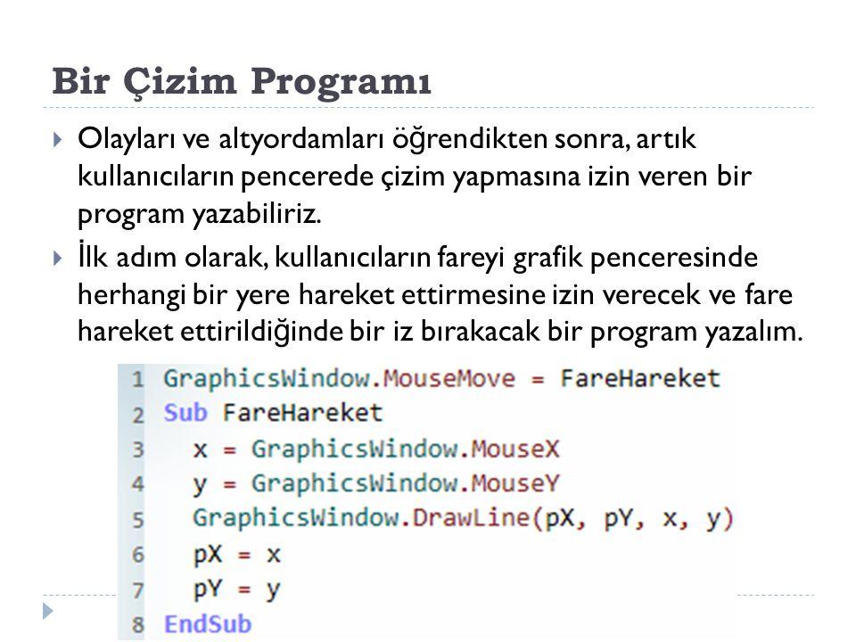 Bir Çizim Programı  Olayları ve altyordamları ö ğ rendikten sonra, artık kullanıcıların pencerede çizim yapmasına izin veren bir program yazabiliriz.